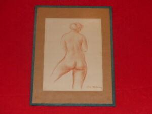 Curiosa-Erotica-Drawing-Sanguine-Sign-Reproduction-Antique-Ca-1940