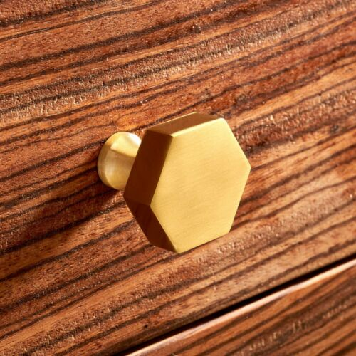 Gold Plated Hexagonal Cupboard Bedroom Kitchen Cabinet Door Knobs Pulls