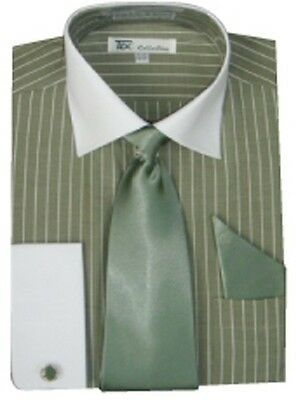 New Men's stylish Striped Formal Casual Dress Shirt with French Cuff Links SG17