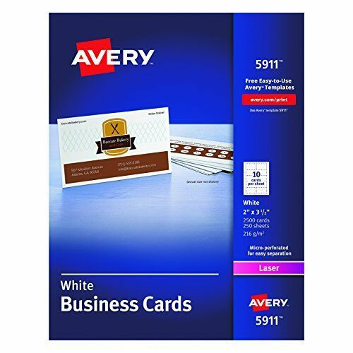 NEW Avery Laser Business Cards, 2 x 3.5-Inches, White, Box of 2500 Cards (5911)