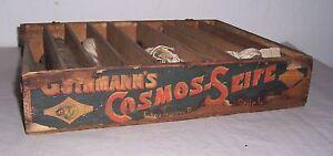 Werbe-Holzschachtel-Cosmos-Seife-mit-Dochten-fur-Petroleumlampen-Dochte-vor-1945
