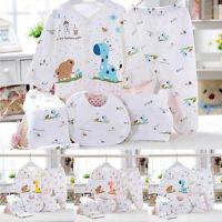 5pcs Newborn 0~6M Baby Cotton Clothes Shirt Top +Pants +Hat +Bib Suit Outfit Set