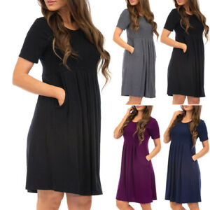 Fashion-Women-Solid-O-Neck-Short-Sleeve-Empire-Two-Pockets-Ruched-Loose-Dress