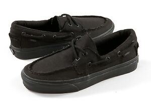 Details about Vans Zapato del Barco Boat Black Canvas Mens Womens Skate Shoes Size 5.5 6.5
