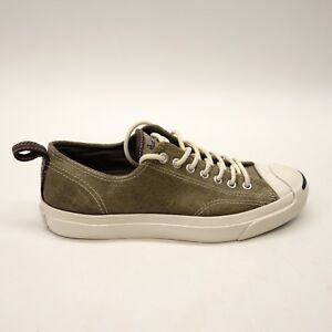 ce547e28a221 Converse Mens Jack Purcell Lace Up All Star Suede Olive Green Shoes ...