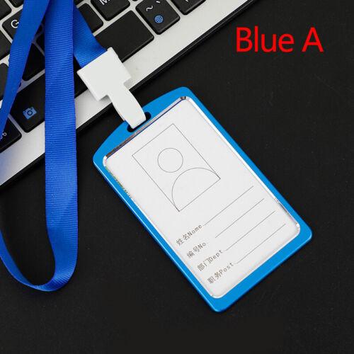 Aluminum Credit ID Card Badge Name Tag Holder Pass Case Neck Strap Lanyard