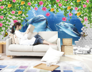 3D Dolphin Bule 468 Wallpaper Murals Wall Print Wallpaper Mural AJ WALL UK Lemon