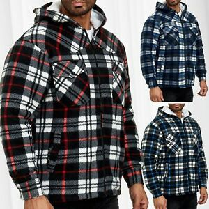 Messieurs-bucheron-Chemise-a-carreaux-Thermo-Doublure-Veste-Flanelle-Fleece-Sweat-Shirt