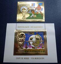 DAHOMEY 1974 Fußball WM FIFA World Cup Soccer Gold 586 + Block 37A ** MNH