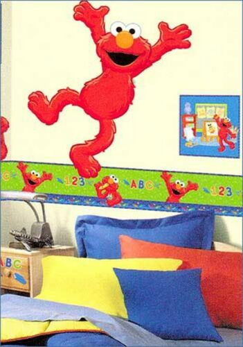 nEw Large JUMPING ELMO WALL STICKER XL Self-Stick Sesame Street Accent Decal