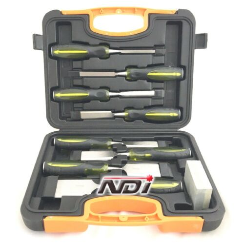 NEW 9 PIECE CHISEL SET + SHARPENING STONE + CARRY CASE WOODWORKING ND0211