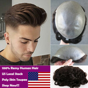 b4f8016ac US Stock Thin Skin Mens Toupee Human Hair Replacement System ...