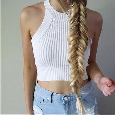 Fashion Women Crop Top Knitted Crochet Halter Neck Vest Sleeveless Tank Crop tee