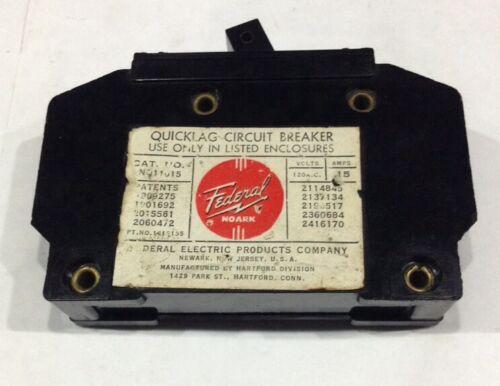 NQ11015 Federal Pacific FPE Type NQ Quicklag Circuit Breaker 1 Pole 15 Amp 120V