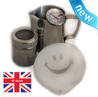 Milk Frothing Jug 0.6L With Thermometer, Chocolate Shaker & coffee stencil