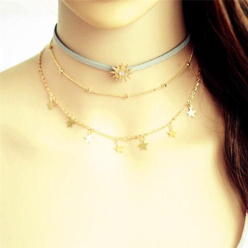 Fashion Necklace Gift Women Sun Star Tassel Copper Choker Multi Layer Leather