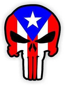 Puerto Rico Hard Hat Sticker | Motorcycle Helmet Decal | Punisher Rican Flags