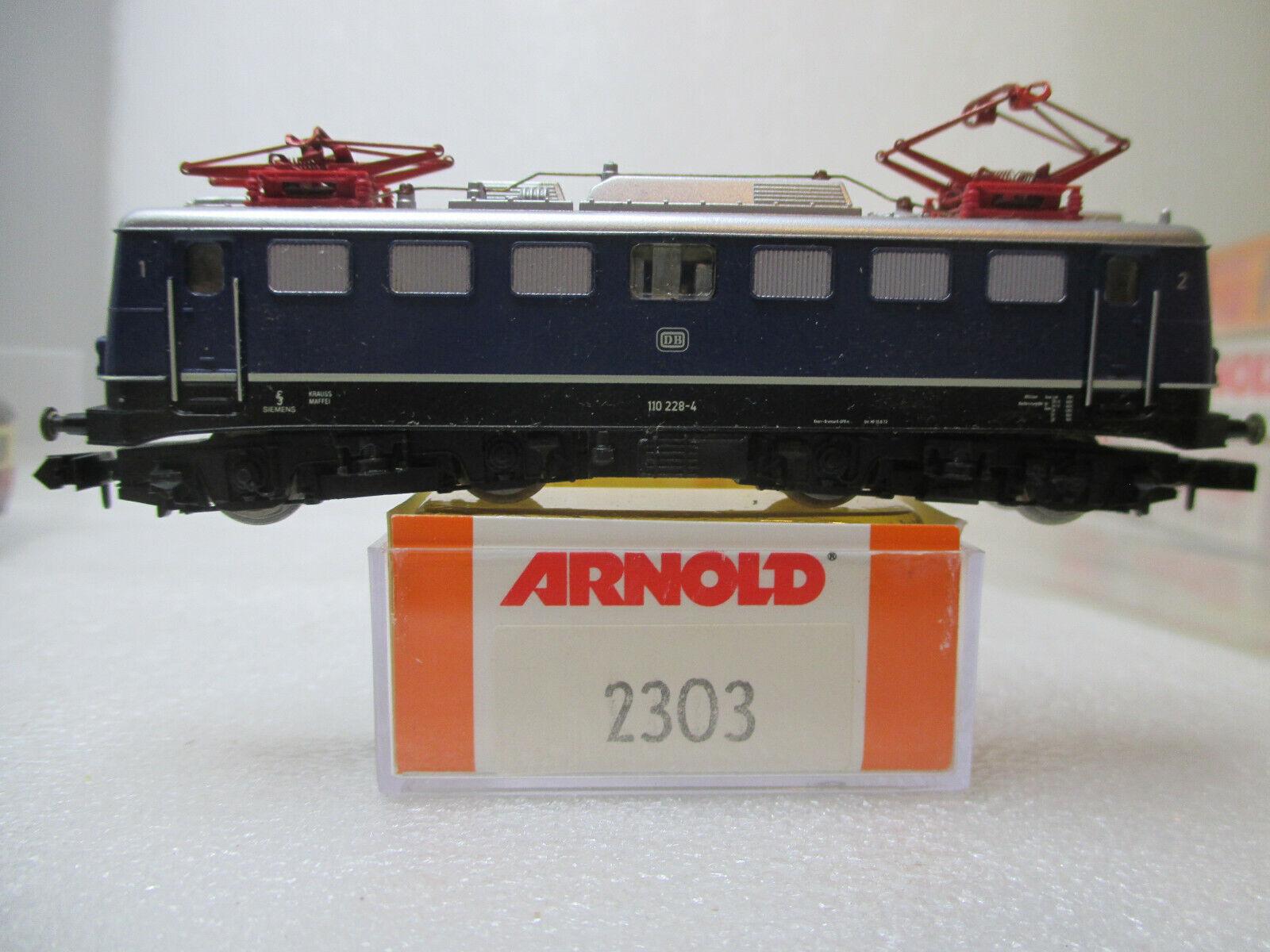 Arnold 2303 Spur N Elektrolok 110 228-4 delle DB Blu in scatola originale con istruzioni