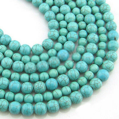 100% Real Natural Turquoise Blue Round Spacer Loose Beads Charms DIY 4 6 8 10 mm