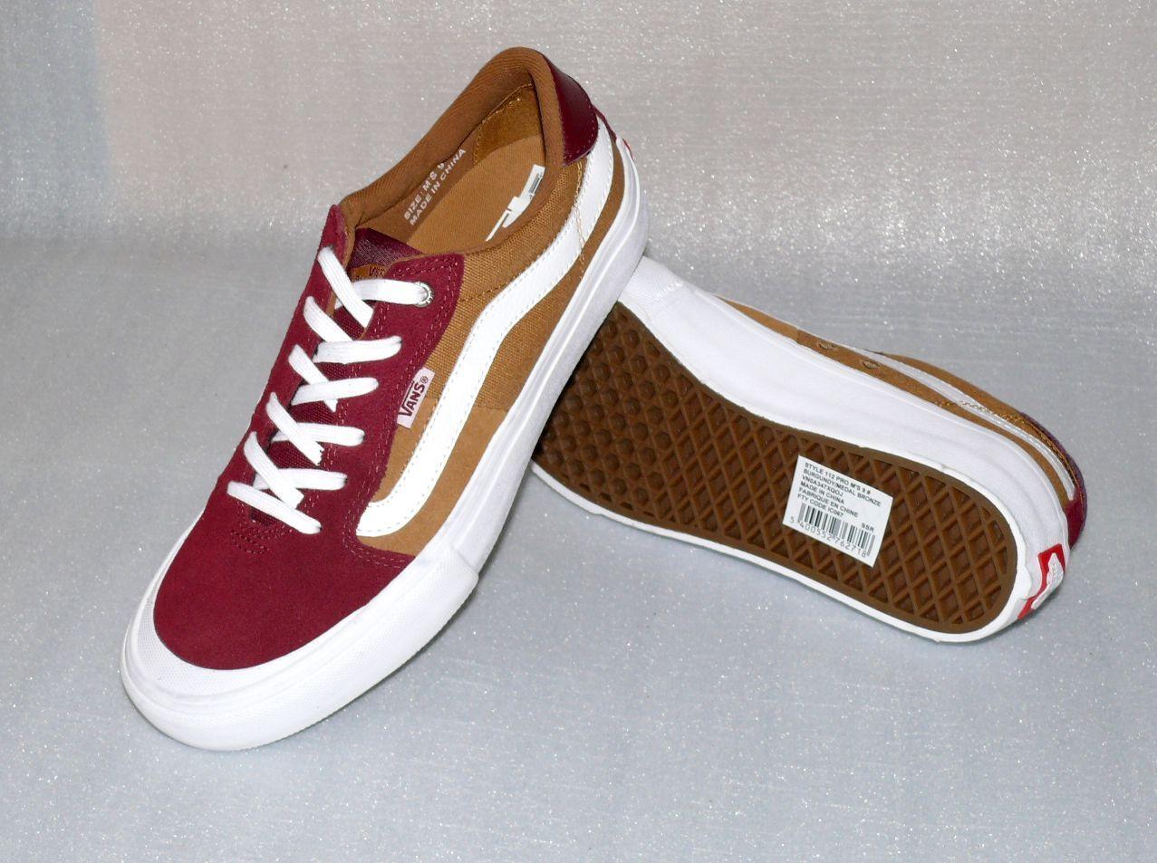 Vans Style 112 Pro Rauleder Herren Schuhe Freizeit Turnschuhe 42 US9 Burgundy Weiß