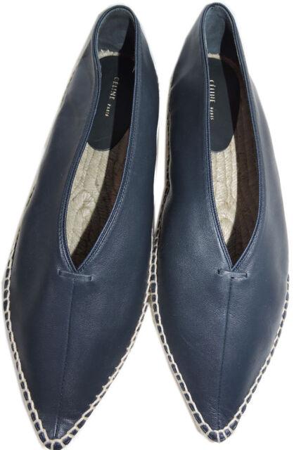 fc38d45964e Celine Paris Flat Sandal V Neck Navy Leather Espadrille 39 Flats Ballerina