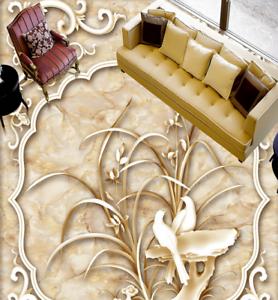 3D flor y pájaro Piso impresión de parojo de papel pintado mural 5 5D AJ Wallpaper Reino Unido Limón