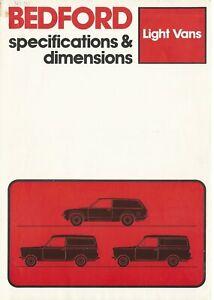 Bedford Light Vans Specifications Brochure B1926 09 80 Uk Ebay