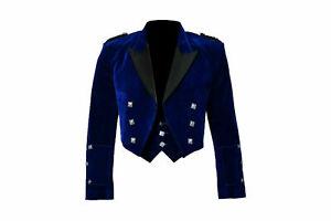 New-Scottish-Blue-Velvet-Prince-Charlie-Kilt-Jacket-With-Waistcoat-All-sizes