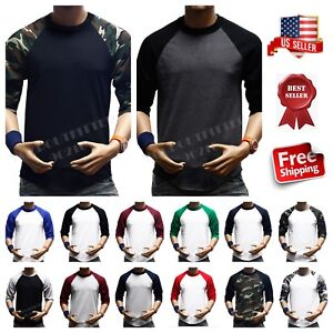 Men-3-4-Sleeve-Baseball-T-Shirt-Raglan-Jersey-Fashion-Casual-Hipster-Crew-Neck