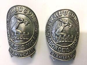 2 x Vintage Bicycle Head Badges  New Hudson Ltd St Georges Works