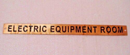 ELECTRIC EQUIPMENT ROOM 12 x 1 Inches 179 Marine BRASS Door Sign