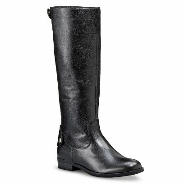 MERONA Women's ERIN Tall Leather Riding Boots  Black  Sz 6