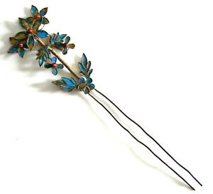 Qing-Dynasty-Kingfisher-feather-Hair-Pin-Antique-Chinese-Coral-Tian-tsui