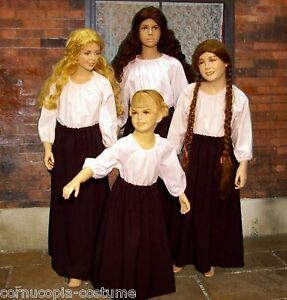 Girls-SKIRT-amp-BLOUSE-Victorian-peasant-or-Medieval-wench-costume-fancy-dress-B-amp-W