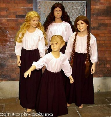 0e434037a4b048 Details about Girls SKIRT & BLOUSE Victorian peasant or Medieval wench  costume fancy dress B&W