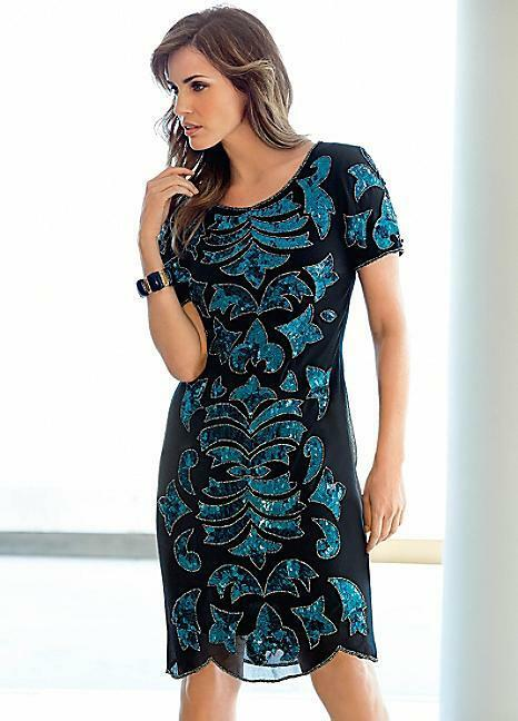 Kaleidoscope Sequin Fully Lined Dress Size 12 BNWT RRP  Teal Freepost