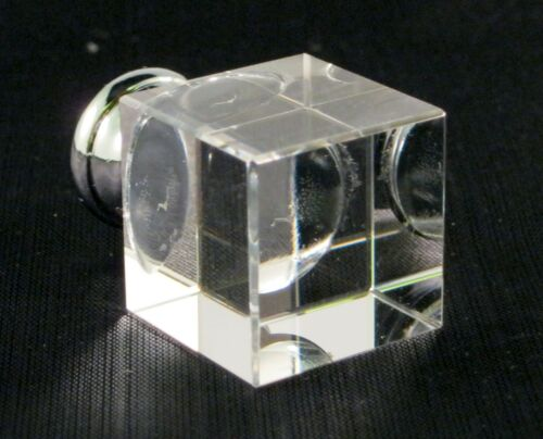 CHROME BASE LAMP FINIAL-CUBE CRYSTAL LAMP FINIAL WITH POL