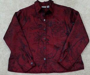 Chico-039-s-Women-039-s-Size-1-Burgundy-Black-Floral-Print-Lightweight-Jacket-Buttons