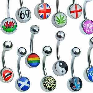 NON-DANGLY-Belly-Bars-Pick-your-logo-cartoon-picture-body-jewellery