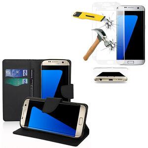 Etui-Coque-Portefeuille-Cuir-Samsung-Galaxy-S7-edge-G935-Films-VERRE-Incurve