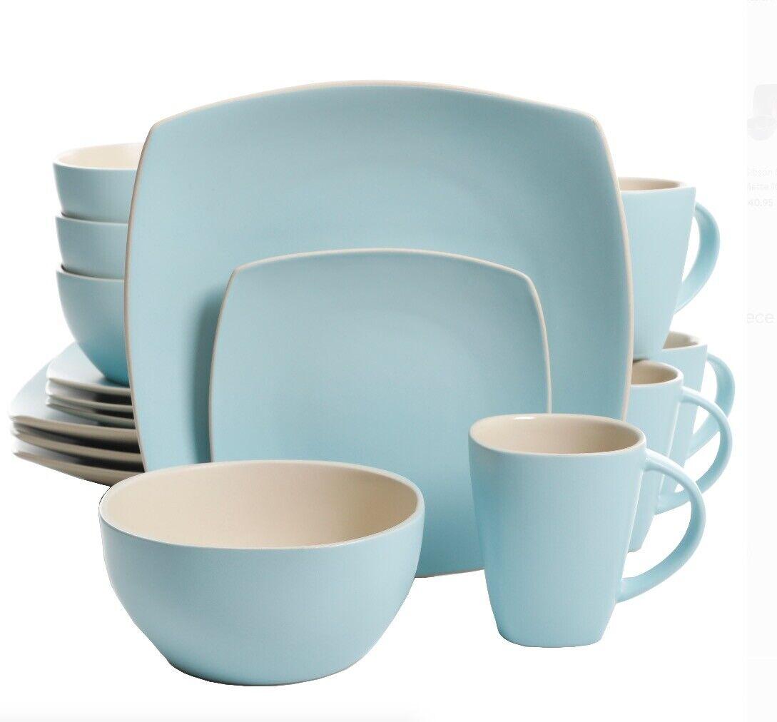 Bleu Pastel Carré 16 Pièces Dinnerware Set dessert 4 Place Plat Bol Assiette Tasse