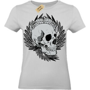 Biker-Teschio-Punk-Goth-Rock-Metal-alternative-Cool-T-Shirt-Donna-Top
