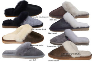 Da-Donna-Pelle-di-pecora-Pantofole-Autentico-Mule-Chestnut-Scarpe-slip-on-3-4-5-6-7-8