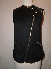 Rock & Republic Women's Black Sleeveless Studded Motor Cycle Top Size Medium