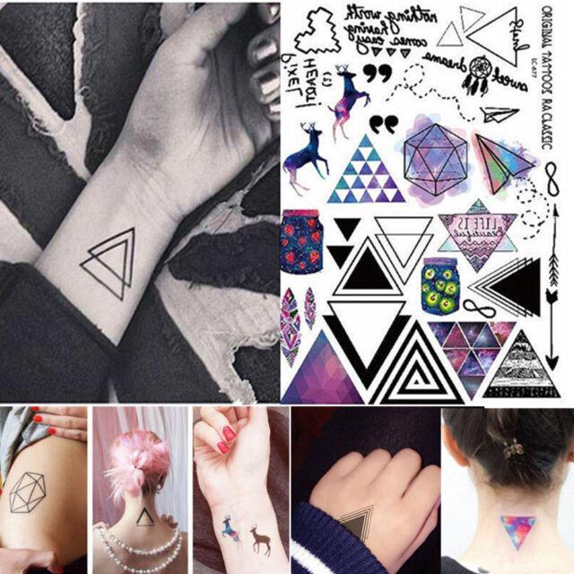 Geometric Temporary Tattoos Body Arm Leg Waterproof Flash Tattoo ...