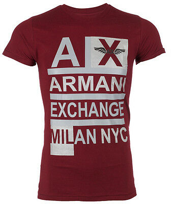 ARMANI EXCHANGE AX Mens T-Shirt STACKED Slim Fit BURGUNDY Designer Casual $45