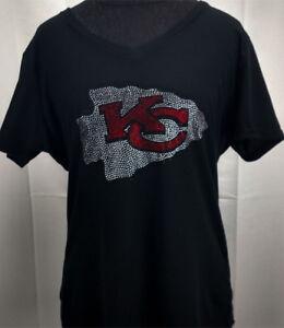 ecc97ac3 Details about Women's Kansas City Chiefs Rhinestone Football V-neck T-Shirt  Tee Bling Lady