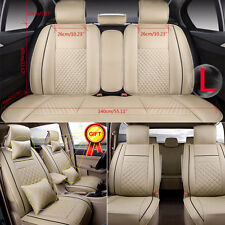 From US Car 5-Seats PU Leather Seat Covers Front + Rear Cushion W/Pillow Size L