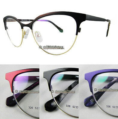 Women Cat eye glasses frames round Optical spring hinges burgundy/purple/black