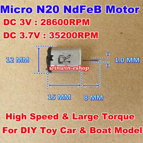 N20 Motor DC 3V 3.7V 35200RPM High Speed NdFeB Strong Magnetic LargeTorque Motor